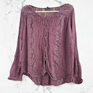AEO Lace Button Front Blouse